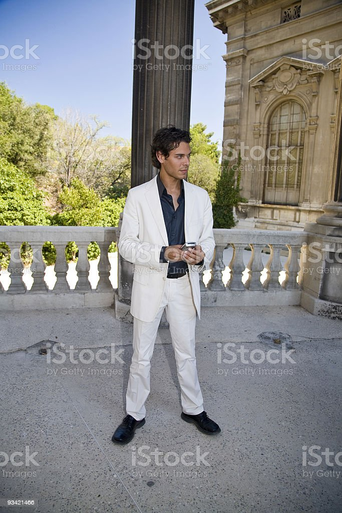 business man with mobile phone texting. stock photo