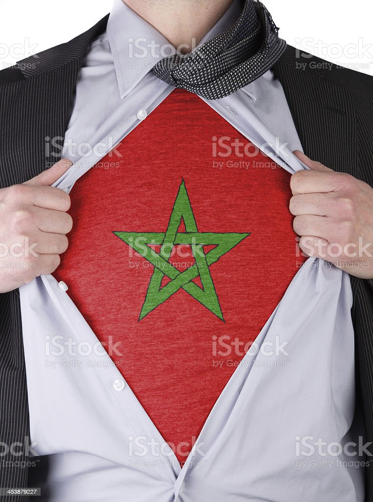 business man with Moroccan flag t-shirt stock photo