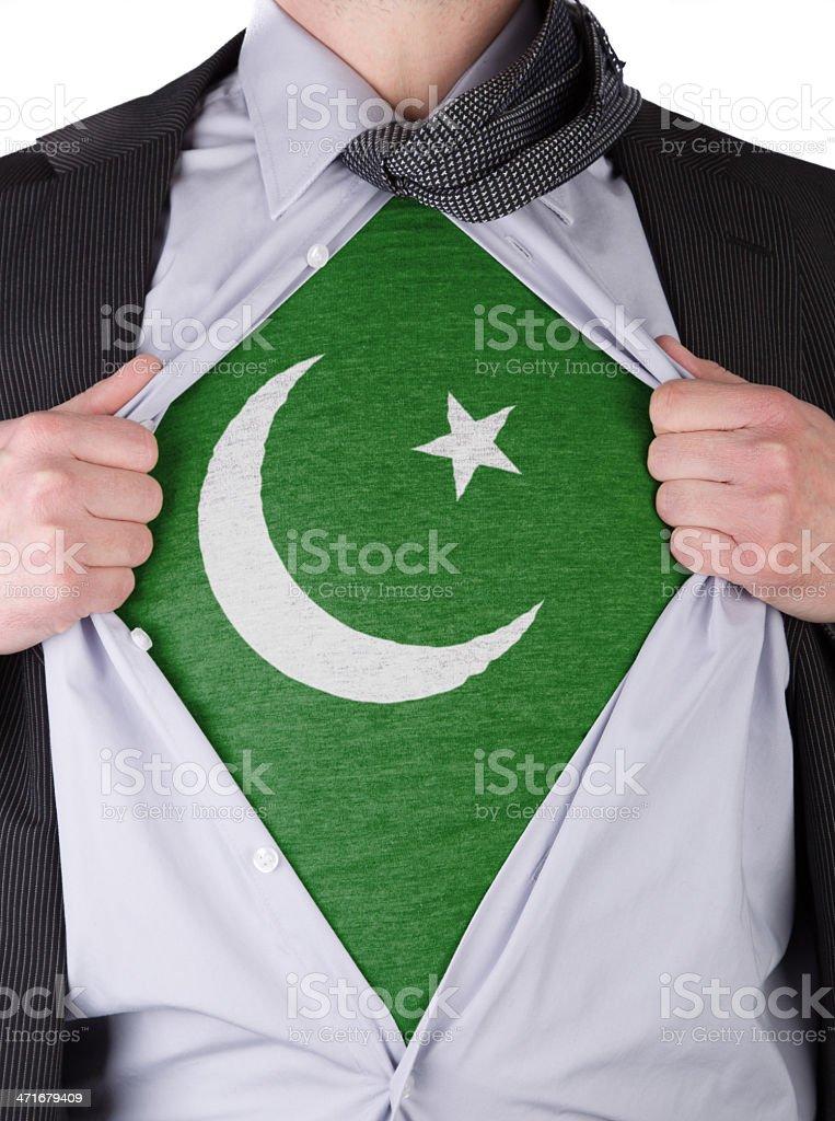 Business man with Pakistan flag t-shirt stock photo