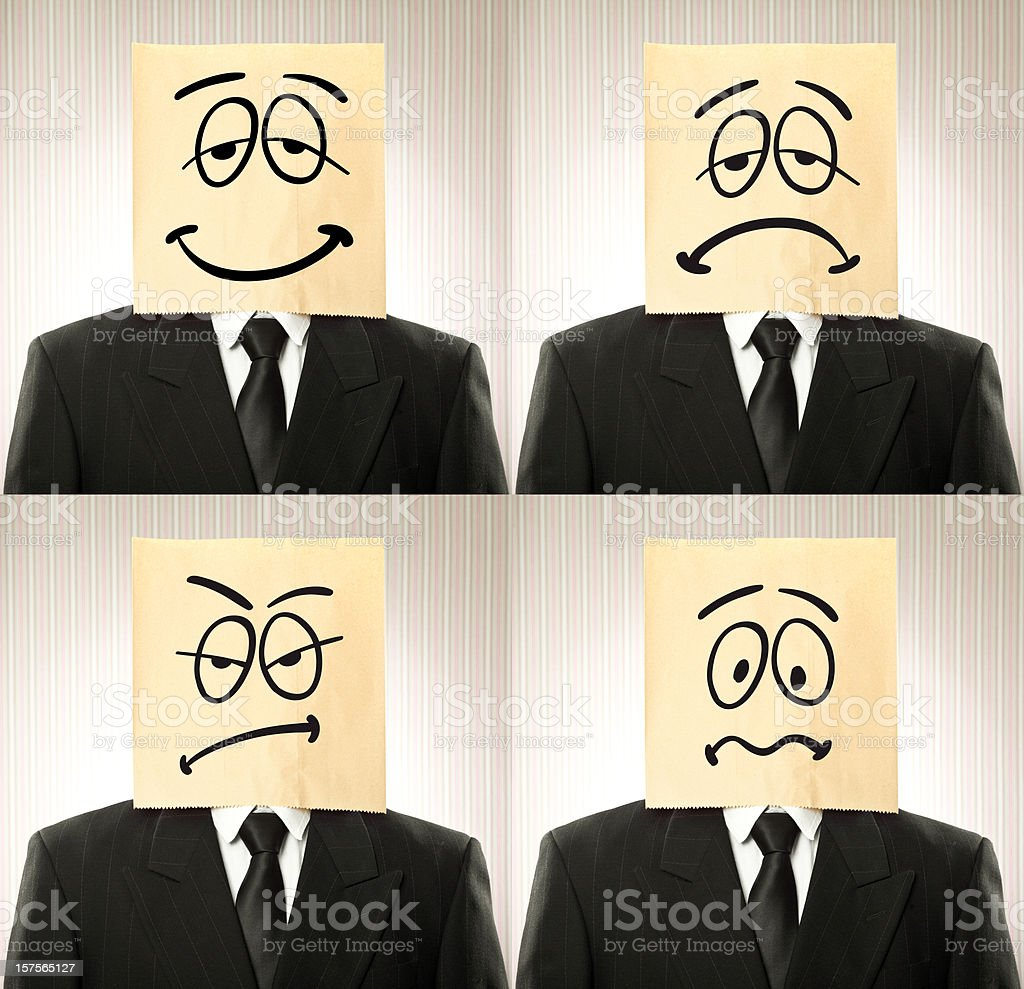 business man with paper bag on the head stock photo