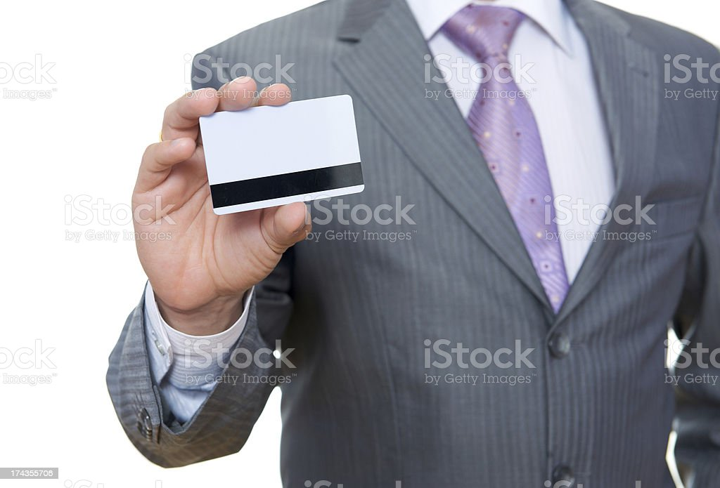 Business man with pastic card in hand royalty-free stock photo