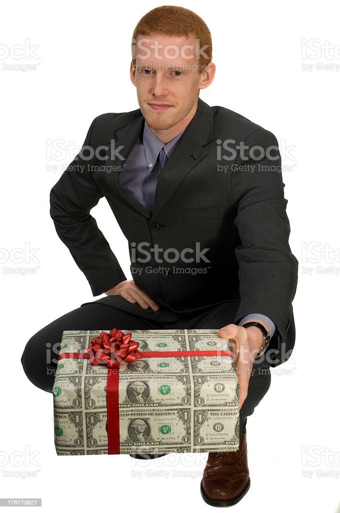 Business man with present. royalty-free stock photo