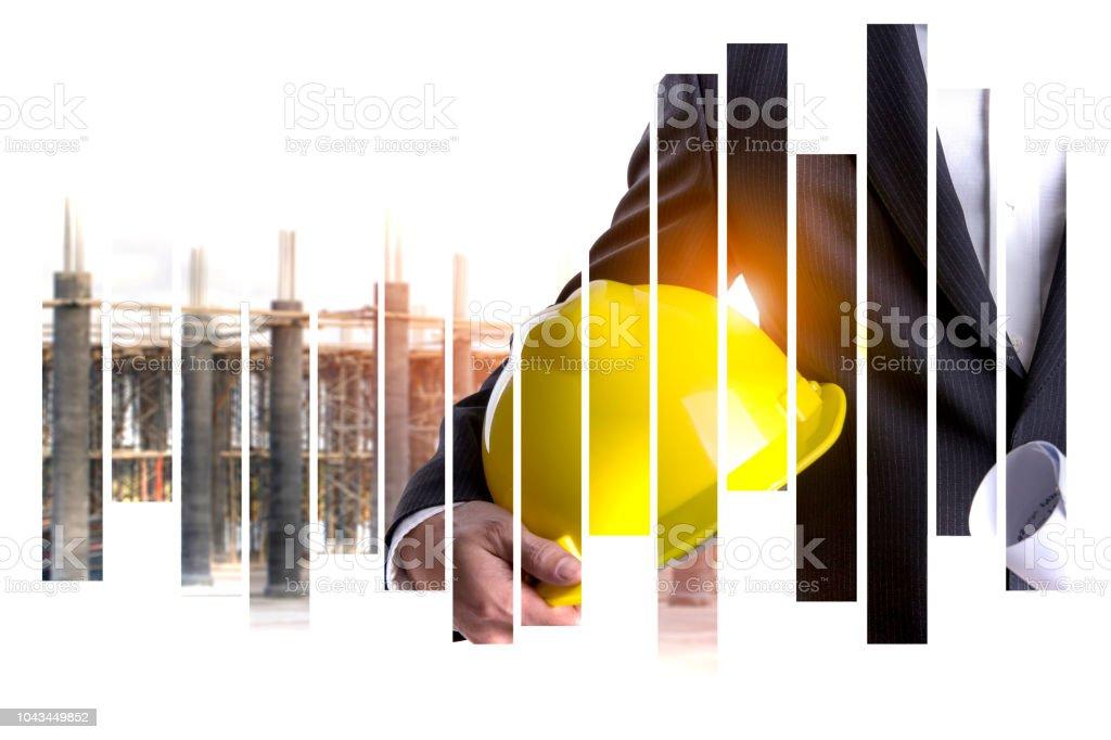 İş adamı ile kask ve inşaat yeni site çelik yapısı inşa ediyor yapım aşamasında soyut Backgorund üzerinde stok fotoğrafı