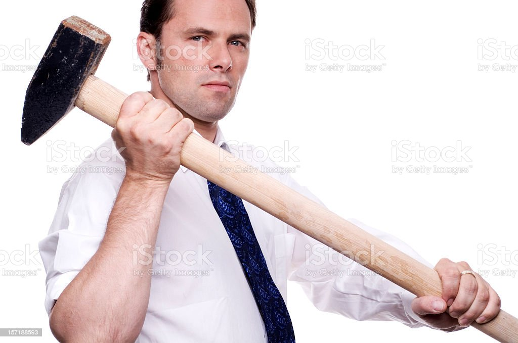 business man with sledgehammer royalty-free stock photo