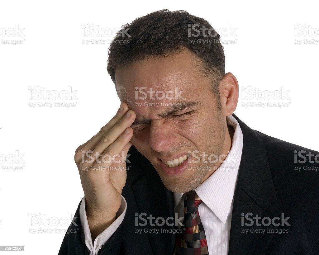 Business man with stress headache royalty-free stock photo