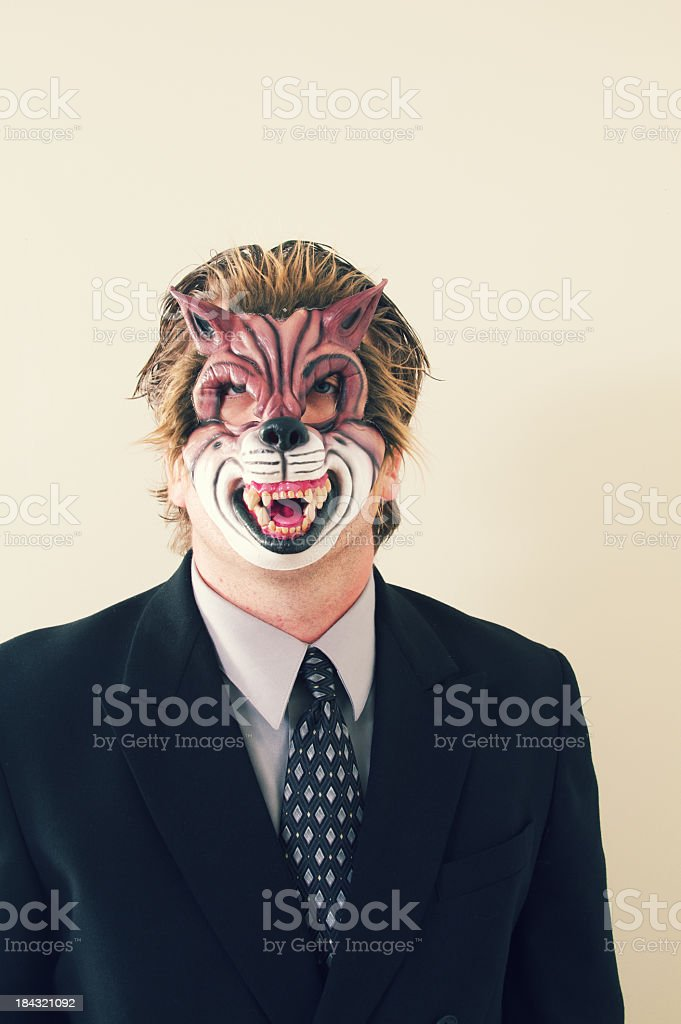 Business Man Wolf Mask royalty-free stock photo