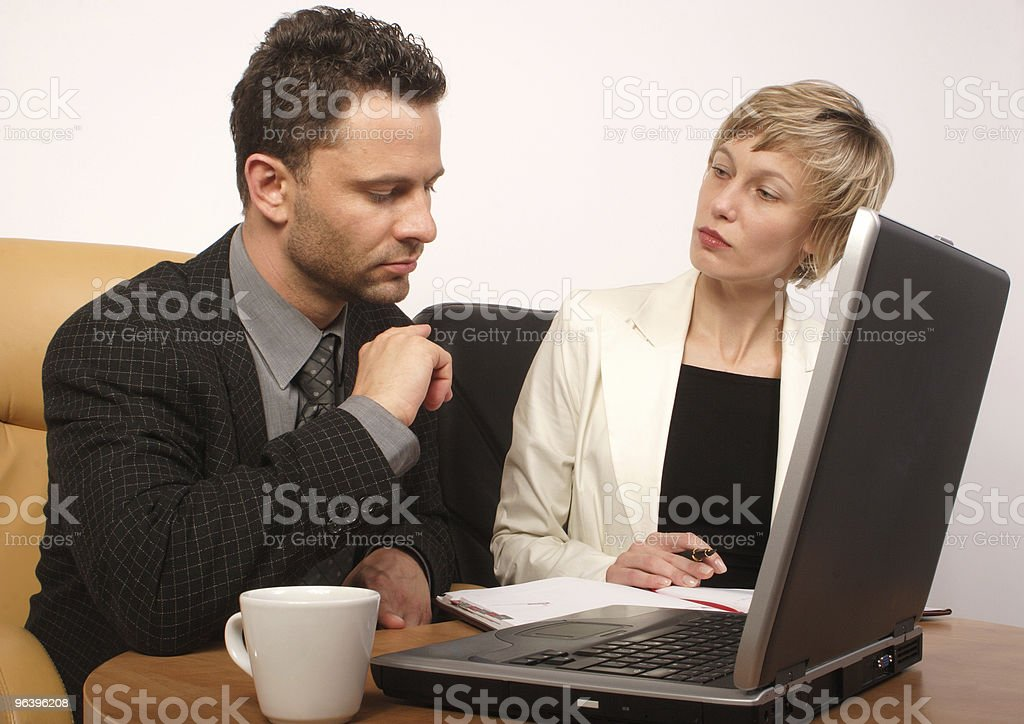Business man & woman working together - Royalty-free Adult Stock Photo