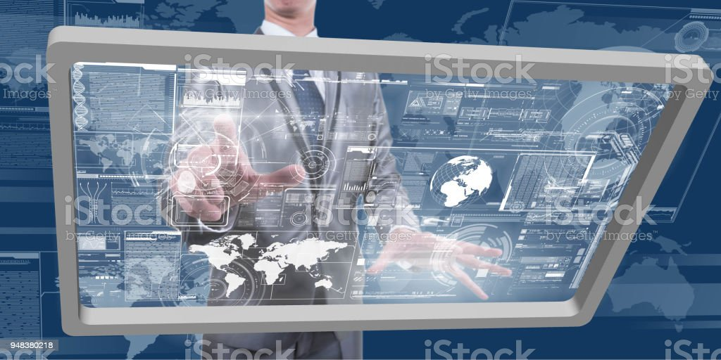 Business Man Work On Future Generation Of Computer Choose Diagram Or Chart Technology Globalization Conceptual Stock Photo Download Image Now Istock