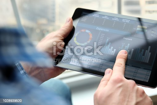 Business man working and analyzing financial figures on a graphs on a laptop in  the office