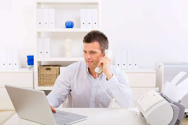 Business man working at home stock photo