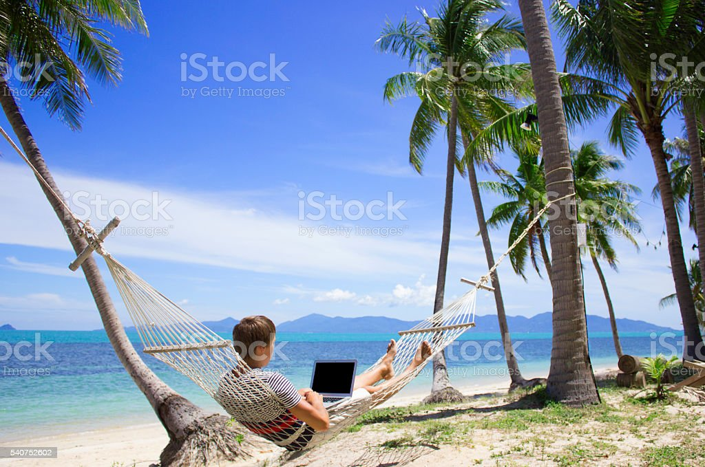 Business man working at laptop in hammock on the beach stock photo