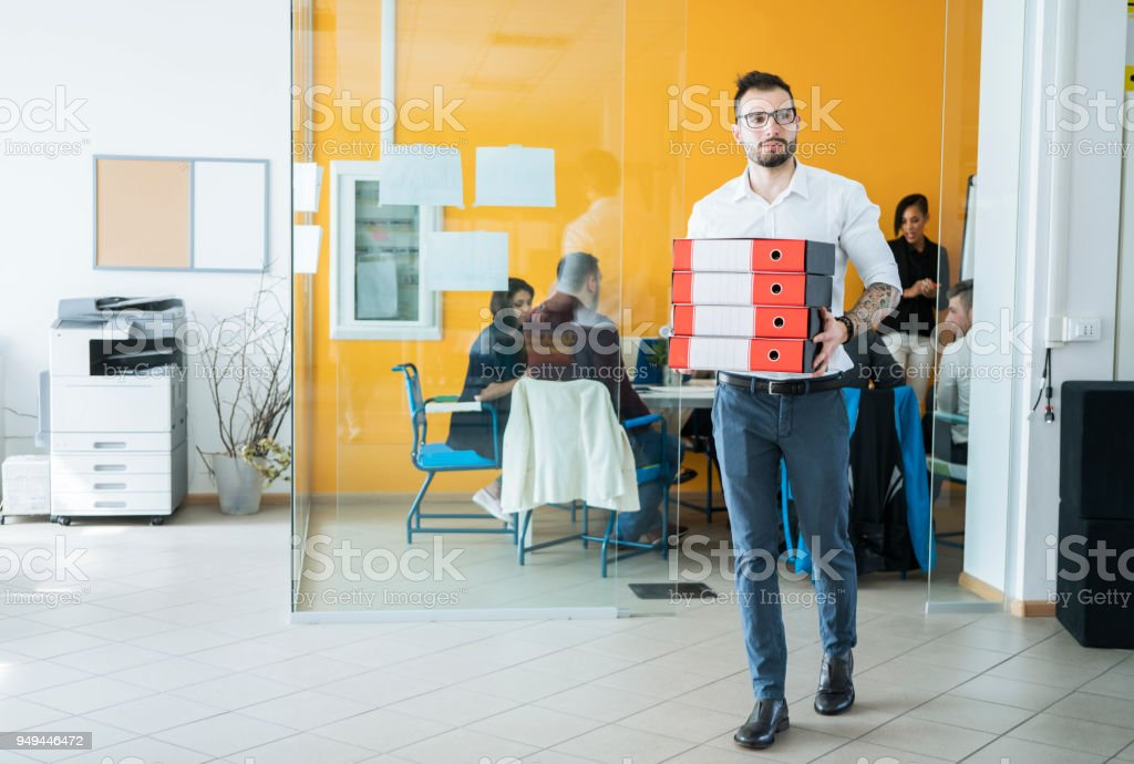 Business man working at office, full Of work