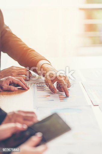istock Business man working at office with laptop and documents on his desk, consultant lawyer concept 922675842