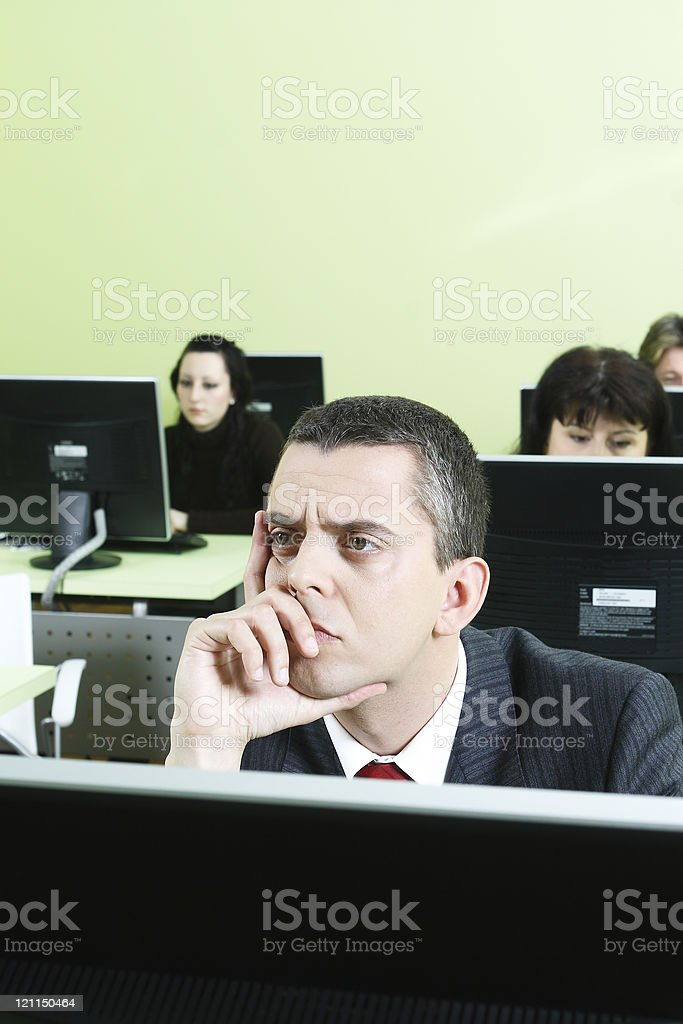 Business Man working in Computer Room stock photo