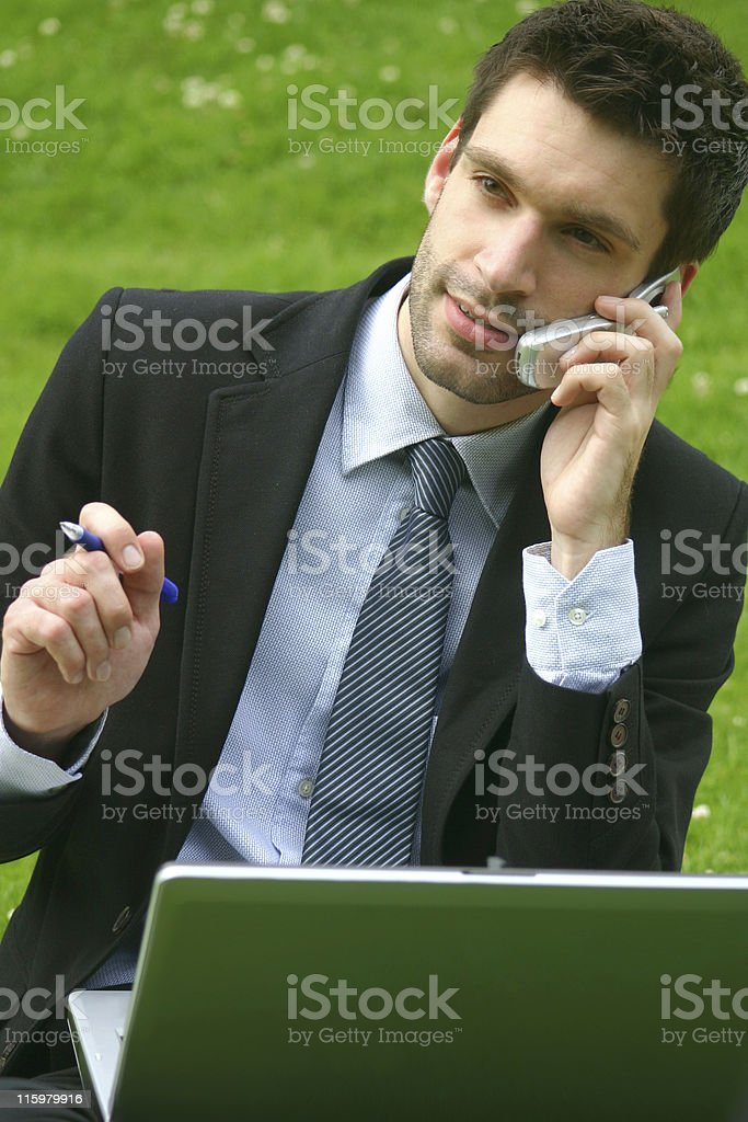 business man working in the park royalty-free stock photo