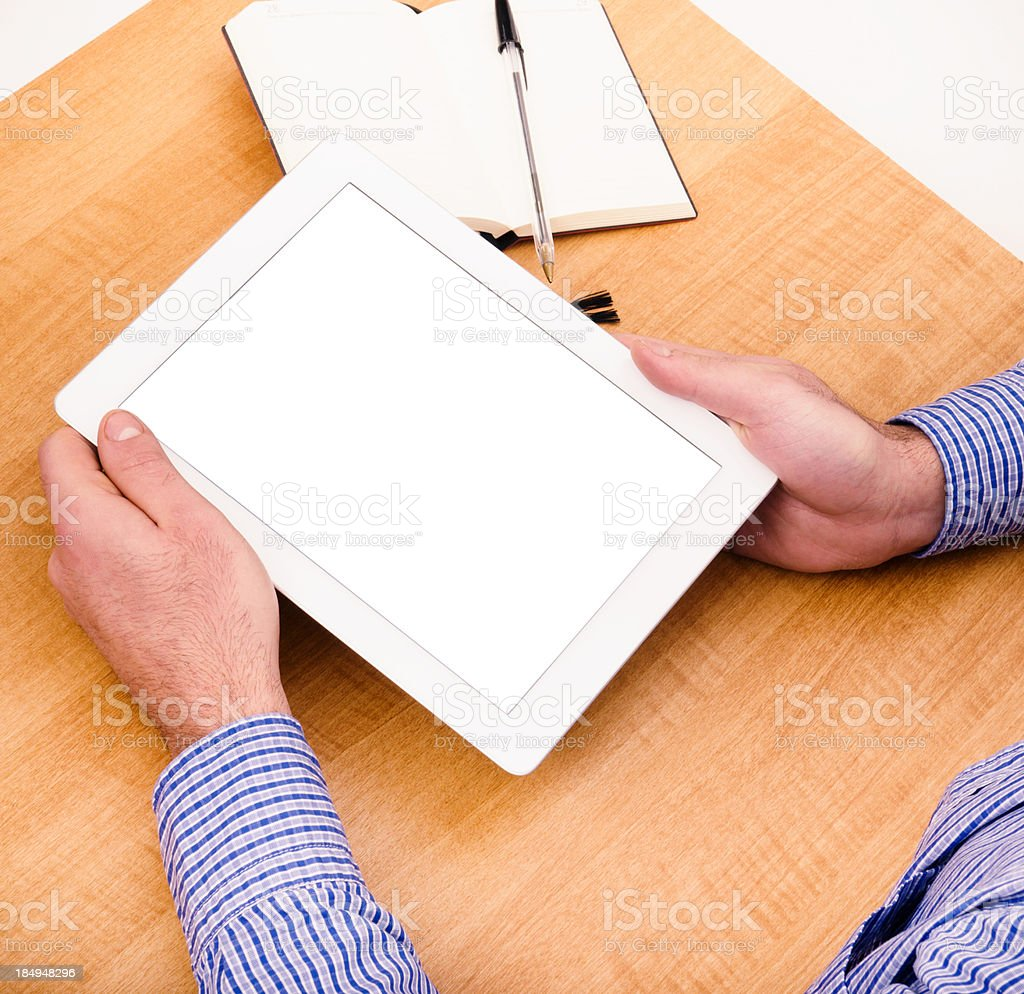 Business man working on digital tablet royalty-free stock photo