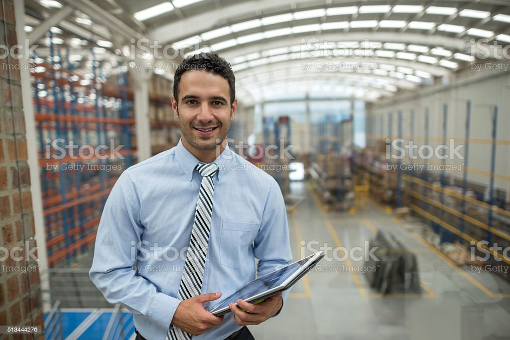 Business man working on freight transportation stock photo