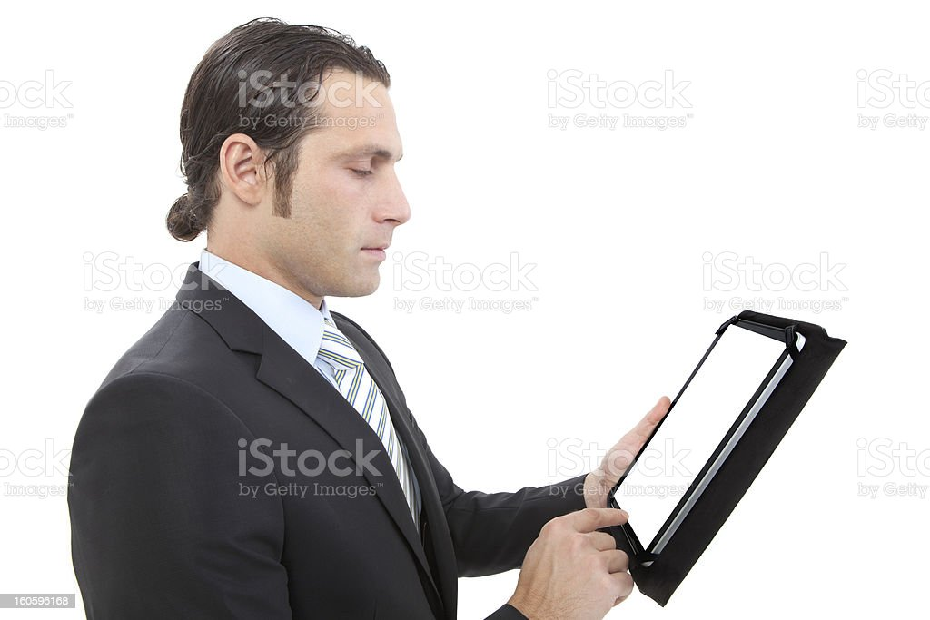 Business man working with a digital tablet royalty-free stock photo