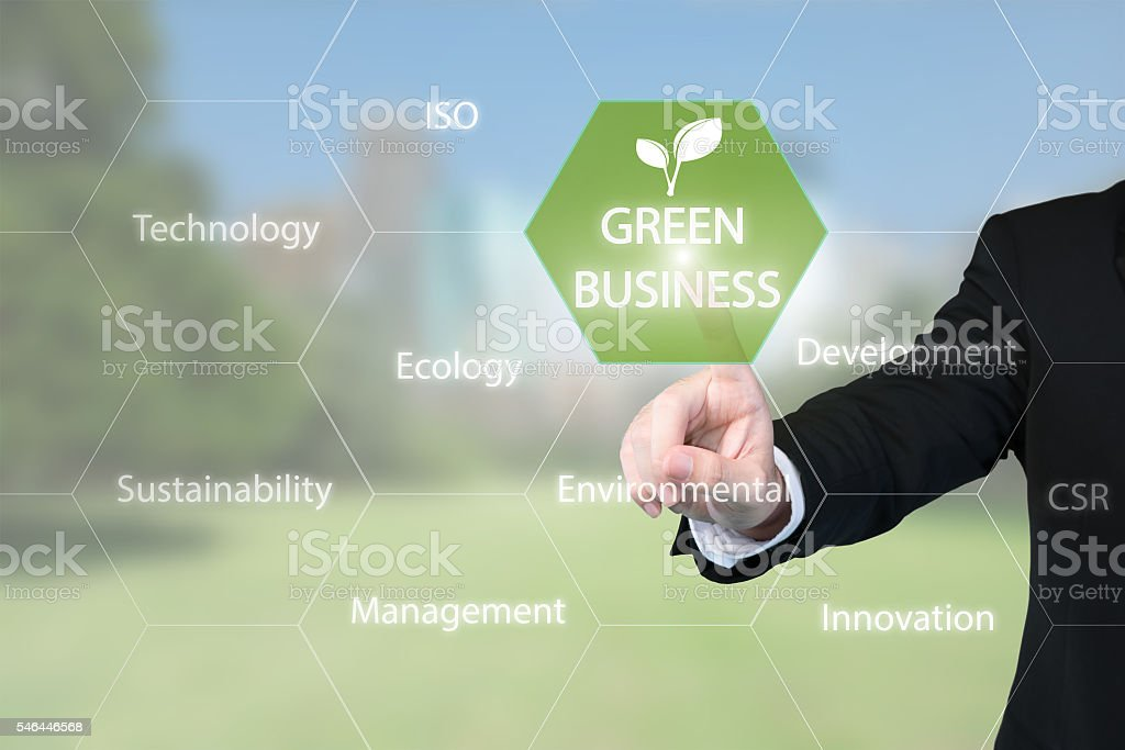 Business man working with virtual interface presentation of green business stock photo