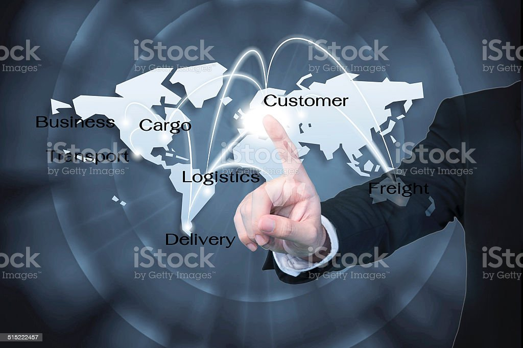 Business man working with virtual interface use for Logistics ba Business man working with virtual interface use for Logistics background Abstract Stock Photo