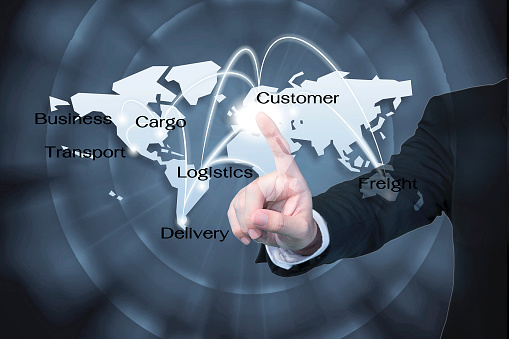 Business Man Working With Virtual Interface Use For Logistics Ba Stock Photo - Download Image Now