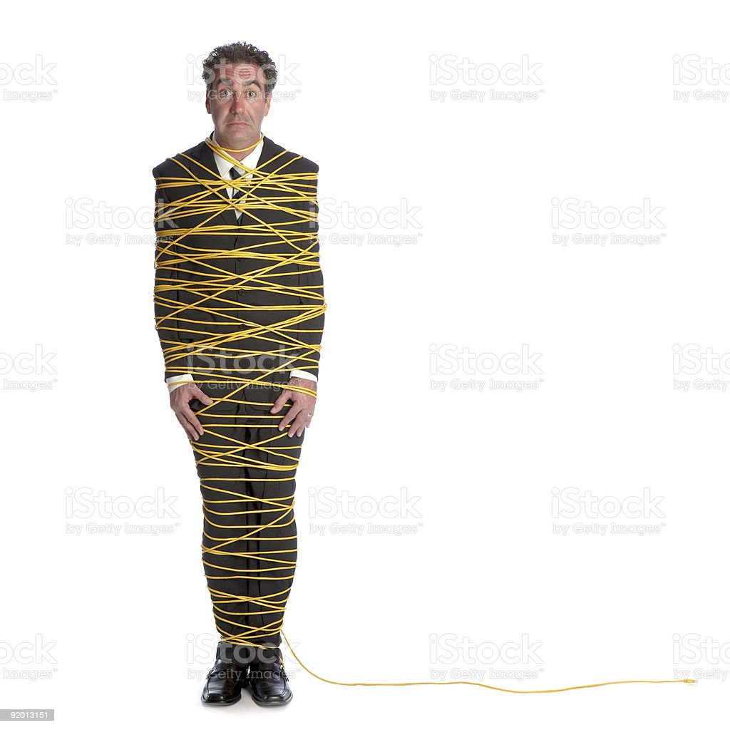 Business Man Wrapped In Yellow Ethernet Wire Stock Photo & More ...