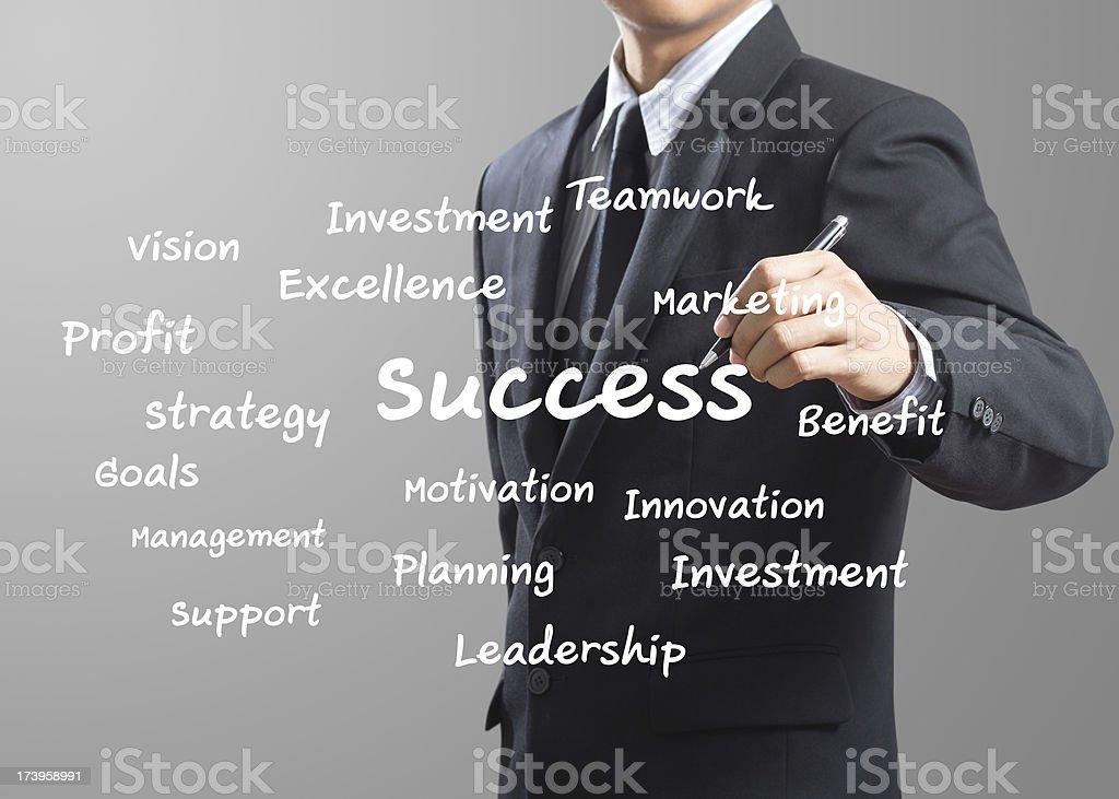 business man writing Success royalty-free stock photo