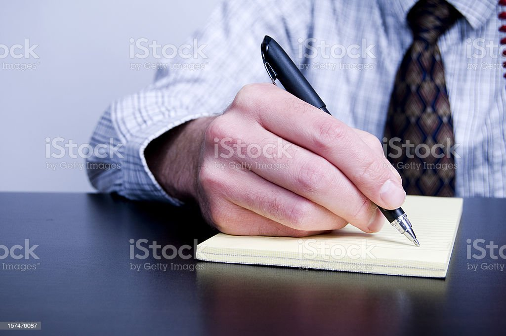 Business Man Writing With Pen royalty-free stock photo