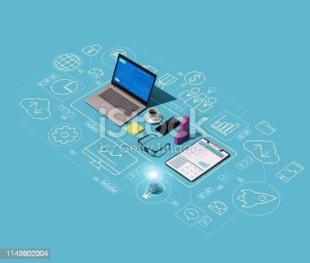 istock Business management and technology 1145602004