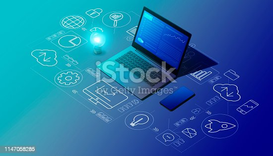 istock Business management and technology 1147058285