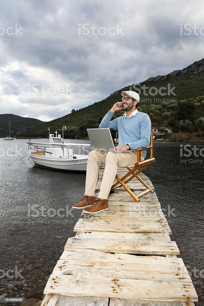 Business Manager in The Nature. Working Out of Office. royalty-free stock photo