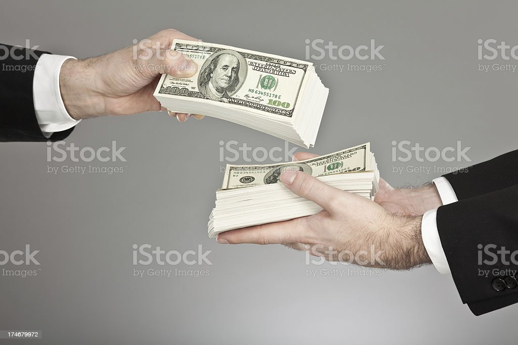business manager money exchange isolated stock photo