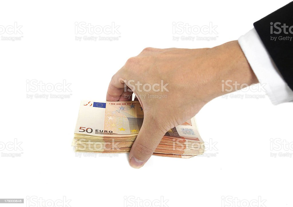 business man's hand holding money royalty-free stock photo