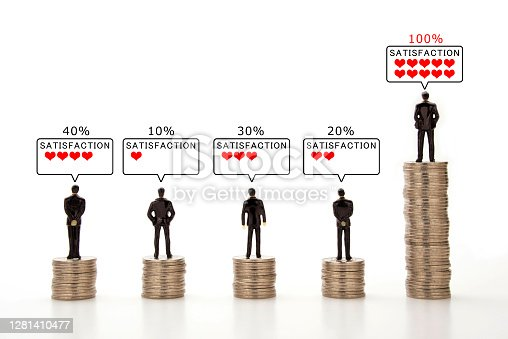 Business man's income and satisfaction images