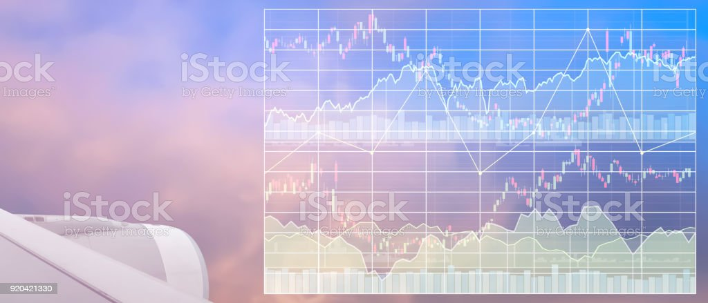 Business marketing data of tourism industry with graph and chart show profit and success in travel business investment on index  of stock market data background. stock photo