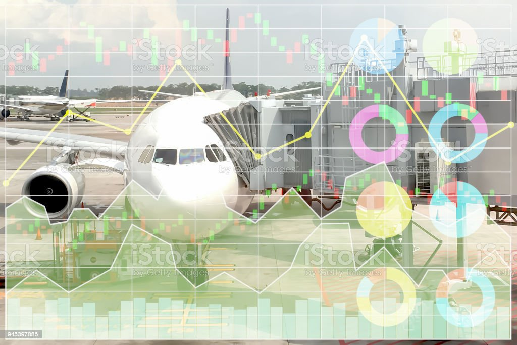 Business marketing data shown profit and success in travel and transportation business investment with index and graph of stock market data background. stock photo