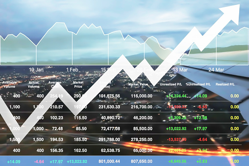istock Business marketing data with arrow up show profit and success in travel business investment on index and graph of stock market data background. 1094853670