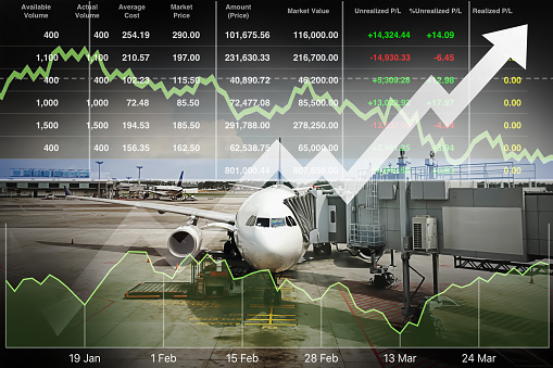 istock Business marketing data with arrow up show profit and success in travel business investment on index and graph of stock market data background. 908245306