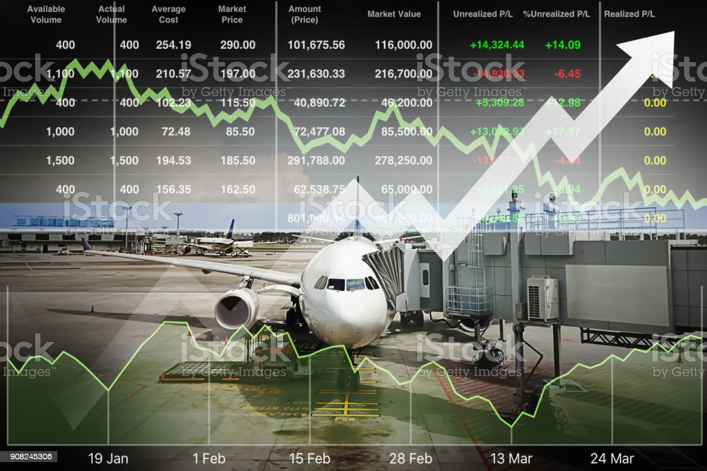 Business marketing data with arrow up show profit and success in travel business investment on index and graph of stock market data background. stock photo