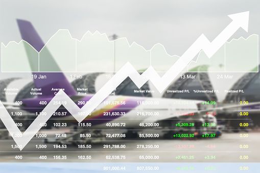 istock Business marketing data with arrow up show profit and success in travel business investment on index and graph of stock market data background. 917178140