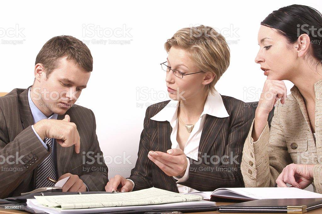 Business meeting  - 2 woman, 1 man stock photo