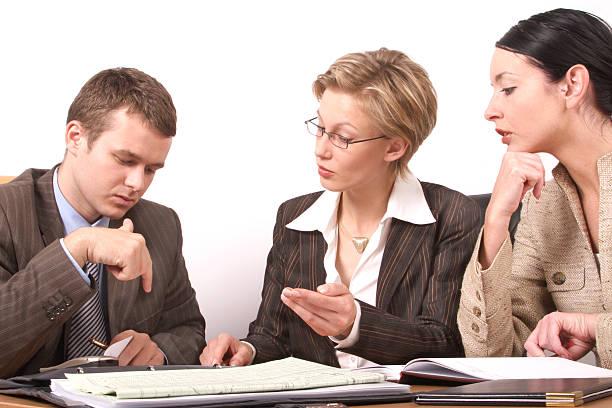 Reunión de negocios-Mujer Hombre 2, 1 - foto de stock