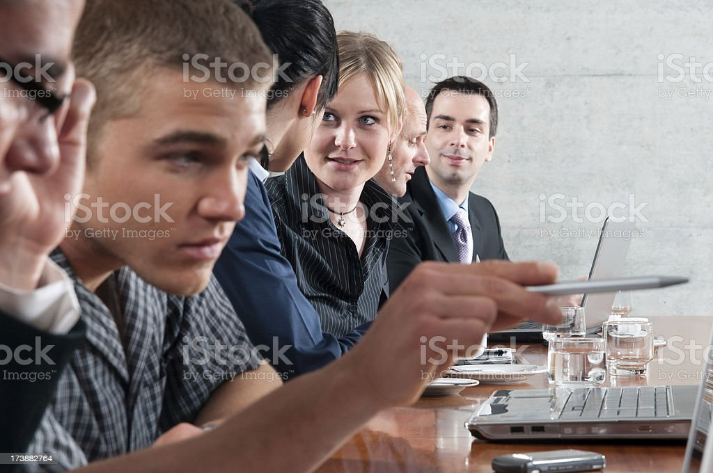 business meeting and pointig with pen royalty-free stock photo