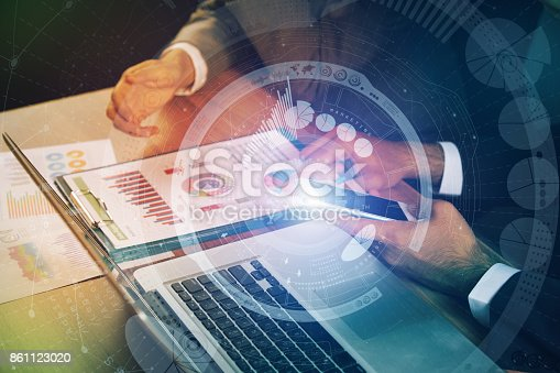 875512438 istock photo business meeting and technological pattern. abstract mixed media. 861123020
