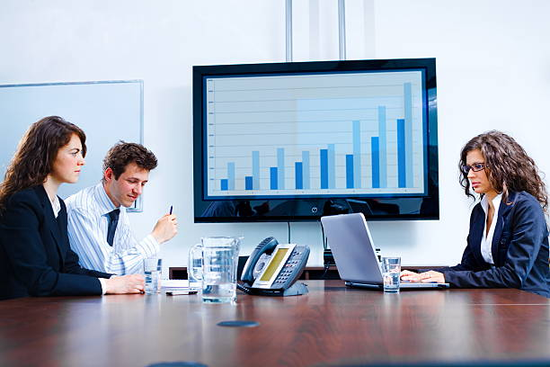 Business meeting at board room stock photo