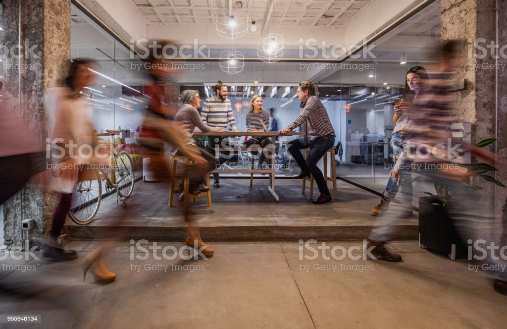 Business meeting at busy corporate office! stock photo