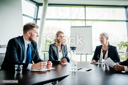 A business meeting between shareholders and managers in a modern office conference room.