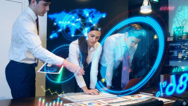 business meeting concept. group of engineer. hud. head up display. gui. graphical user interface. - business woman hologram imagens e fotografias de stock