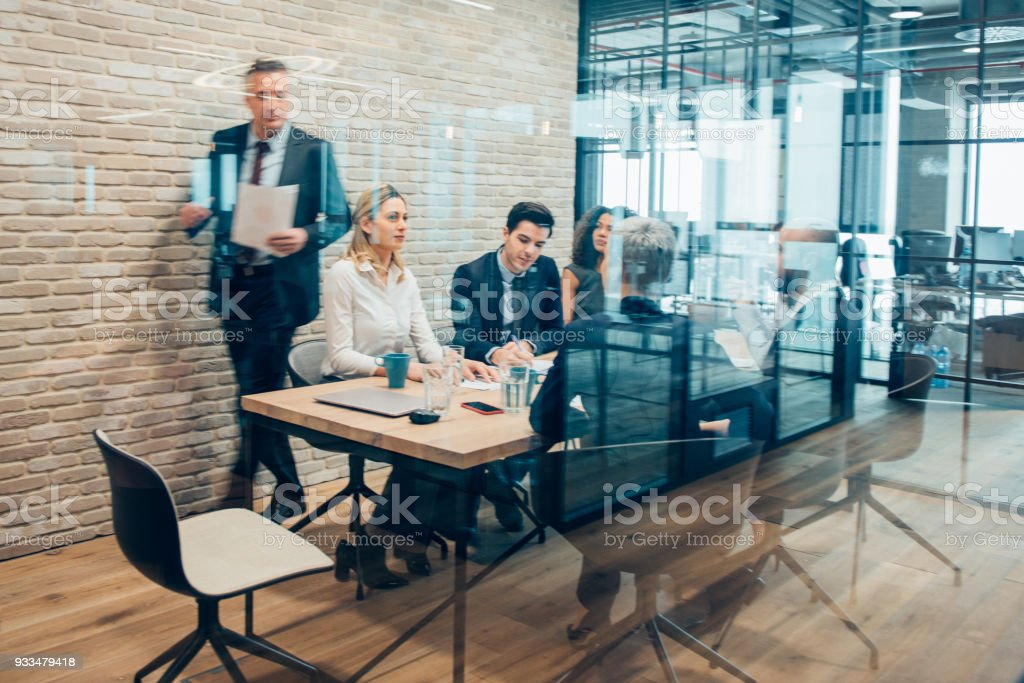 Business Meeting in a Conference Room stock photo