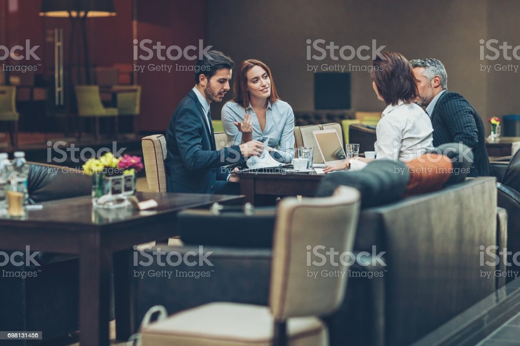 Business meeting late in the evening stock photo
